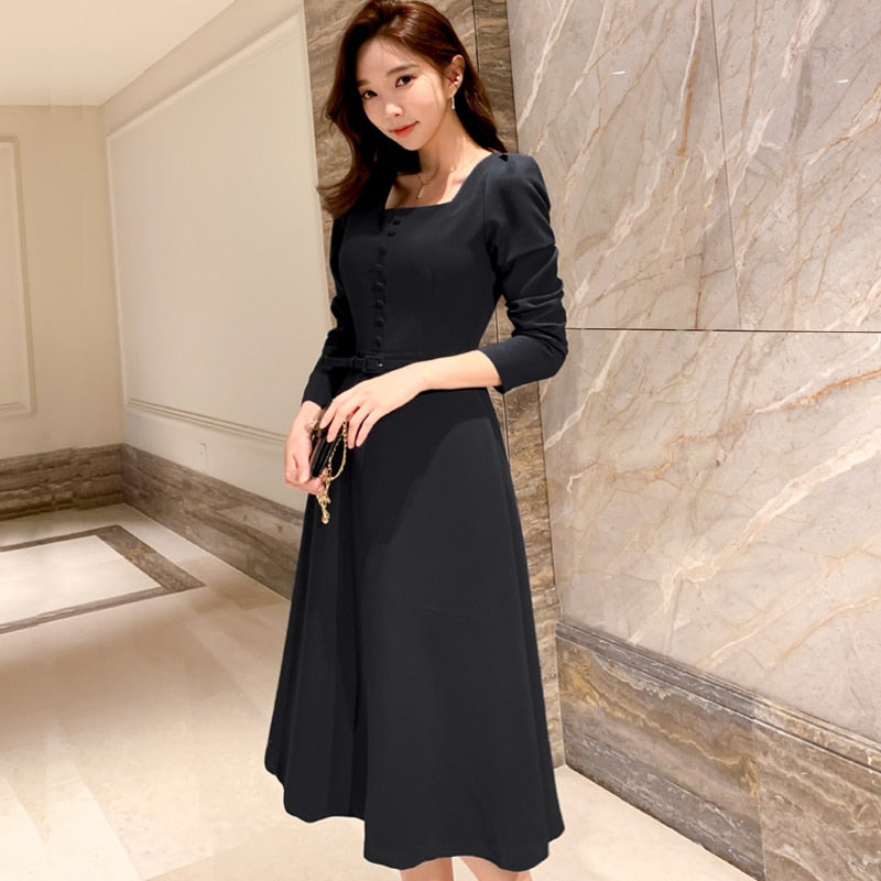 Office Lady Work Print Slim Dress Women Sexy Dress with belt Creationsg