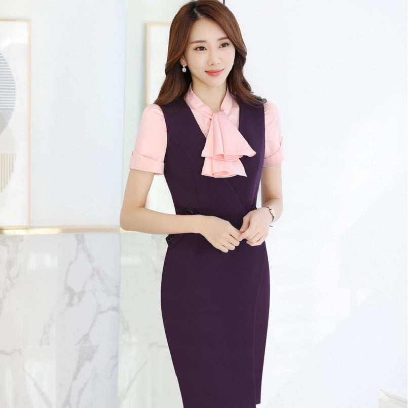 Plus Size 3XL Summer Short Sleeve Formal Professional Business Women Work Suits With Blouses And Dress Creationsg
