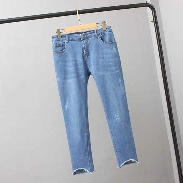 creationsg - High Waist Vintage Denim Pants Jeans
