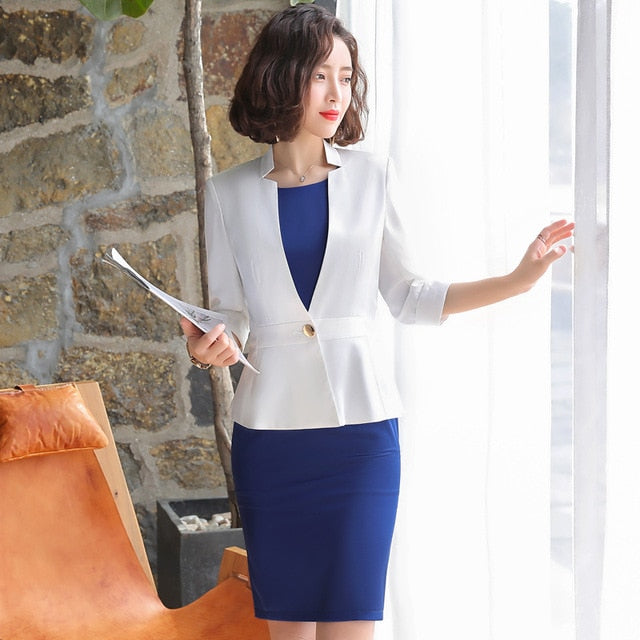 creationsg - Professional Half Sleeved Dress Suit Summer 2019 Office Lady Business Dress+ Blazer 2 PCS Clothing