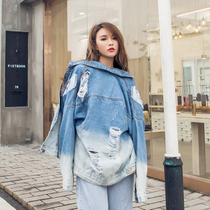 creationsg - New Loose Hole Denim jacket