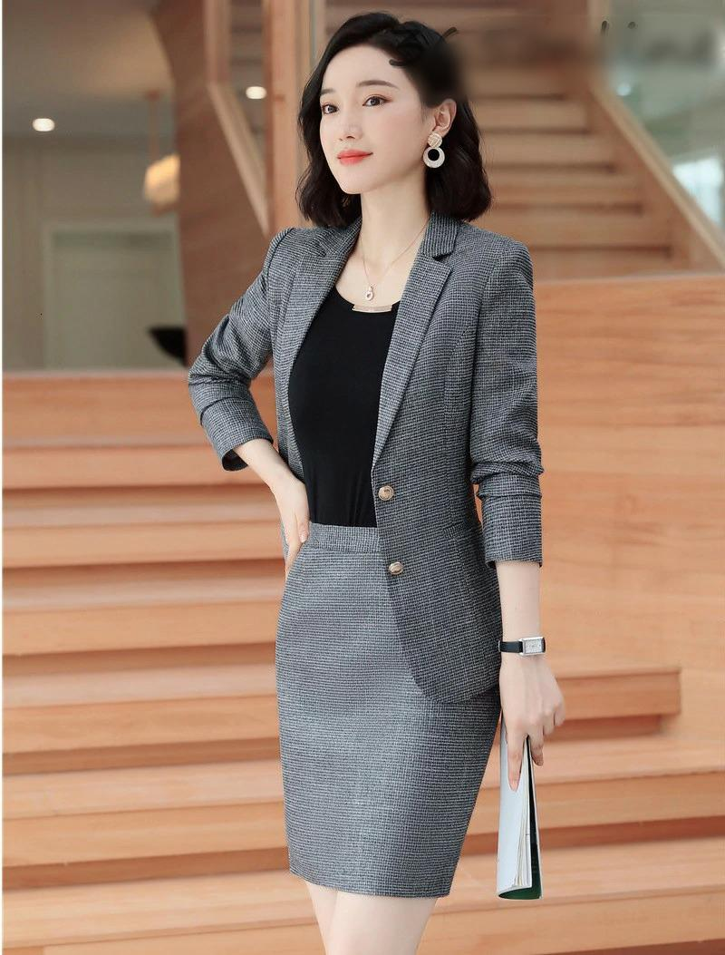 Autumn Winter Professional Women Business Suits with Skirt and Tops for Ladies Office Creationsg