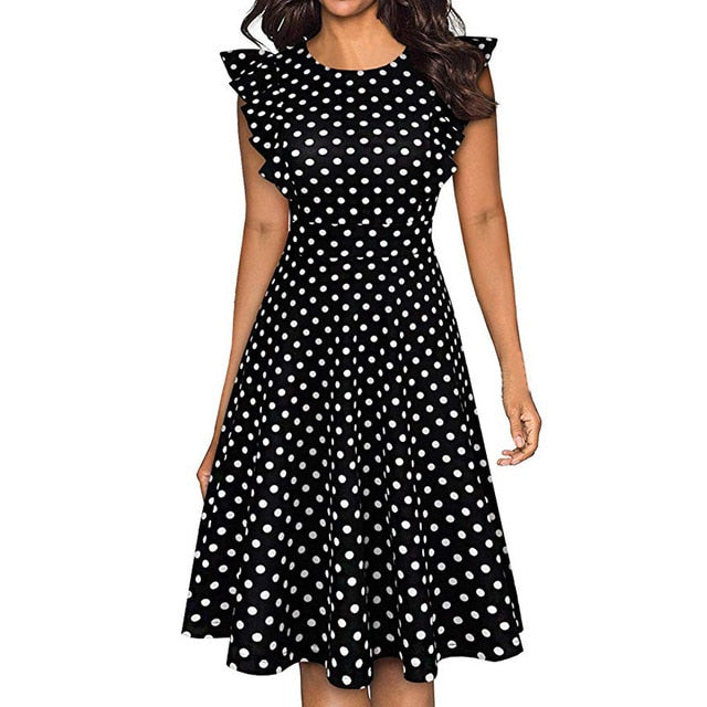 NEW FASHION Women Vintage Dot Printed Ruffle Sleeveless Dresses Creationsg
