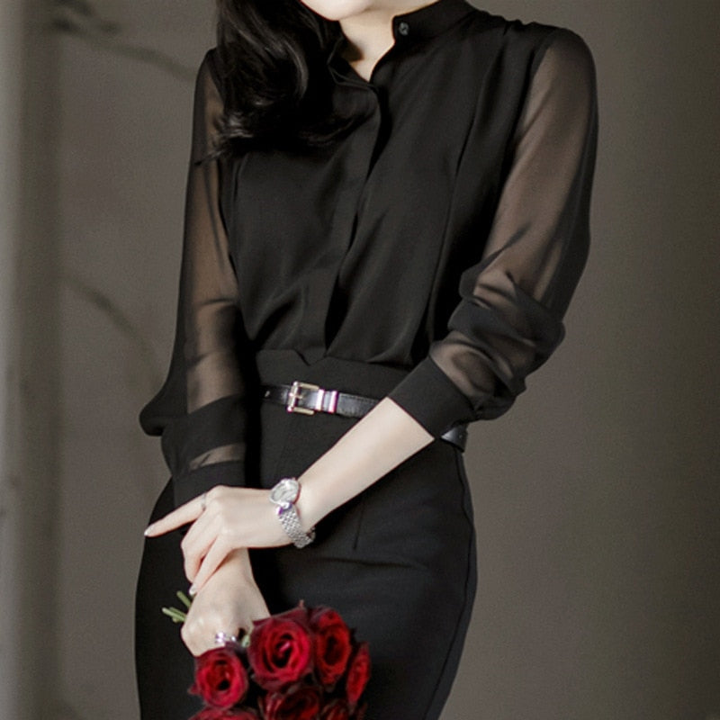 creationsg - Chiffon Transparent Long Sleeve Simple Womens Blouses Tops Shirt