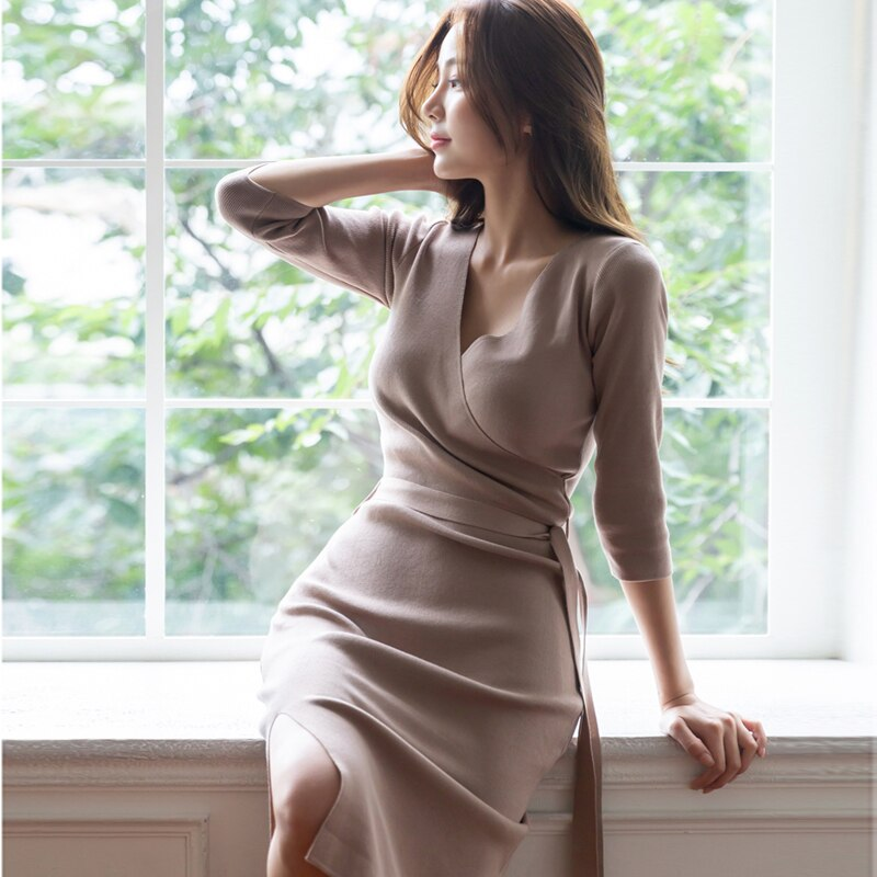Stylish Women'S Clothing Autumn Winter Korean Fashion Sweater Dress Creationsg