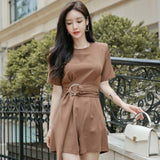 creationsg - Summer Khaki Jumpsuit Sashes High Waist Casual Solid Women Playsuits