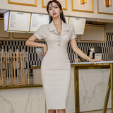 Summer Notched Office Women Cloth Short Sleeve Knee-Length Bodycon Work Dress Creationsg