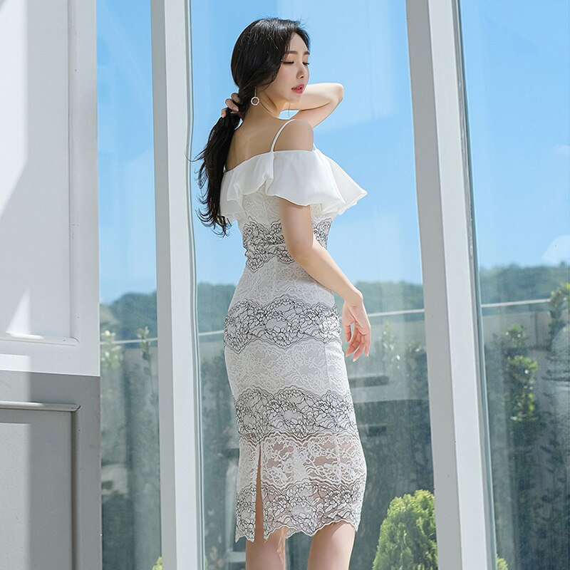 Summer Ruffles Strap Sexy Vestidos Bodycon Knee-Length Full Lace White Dress Creationsg