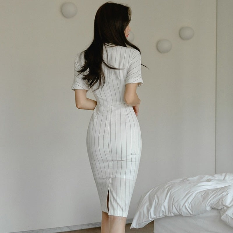creationsg - Summer Short Sleeve White Striped Vestidos Single Breasted Midi Pencil Bodycon Office Dress