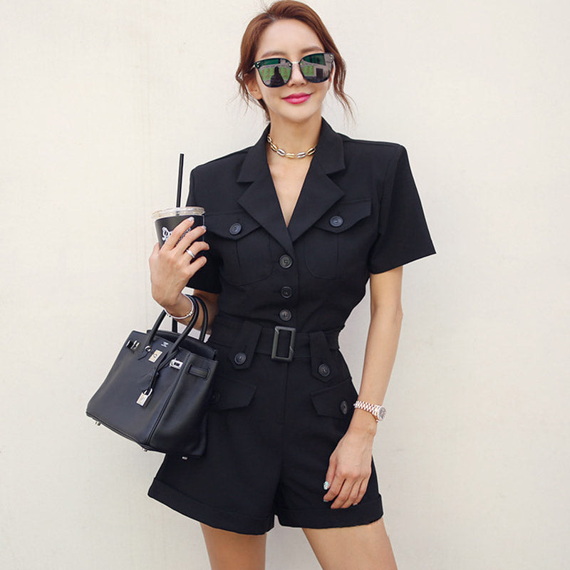 Summer Single Breasted Notched OL Short Sleeve Jumpsuit Creationsg