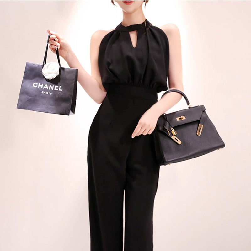 Summer Sleeveless Halter Black Overalls High Waist Casual Office Jumpsuit Creationsg