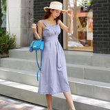 Summer Sleeveless Strap Vestidos A-Line Solid High Waist Casual Solid Summer Dress Creationsg