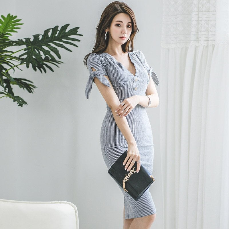 Summer V-Neck Knee-Length Pencil Striped Vestidos Bodycon Sexy Short Sleeve Office Dress Creationsg