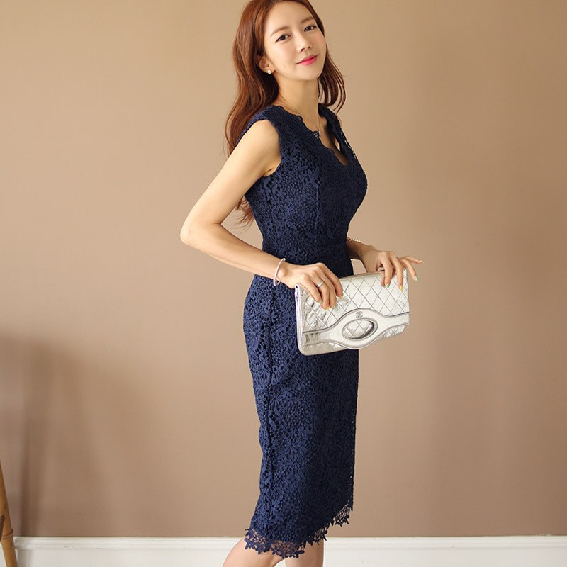 Summer V-Neck Navy Sleeveless Vest Pencil Sexy Party Lace Dress Creationsg