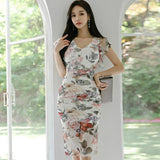 Summer V-Neck Ruffles Sleeve Sheath Sexy Floral Party Dress Creationsg
