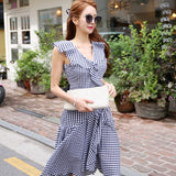 Summer V-Neck Vest Cloth Sleeveless Swing Plaid Casual Knee-Length Dress Creationsg