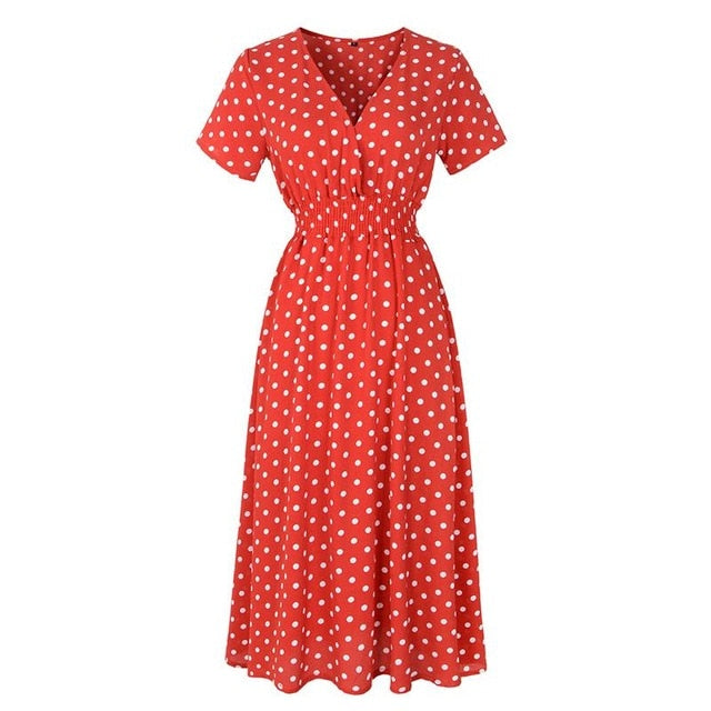 Summer Women Bohemian Floral Dot Midi Dress Elegant Long Dress Creationsg