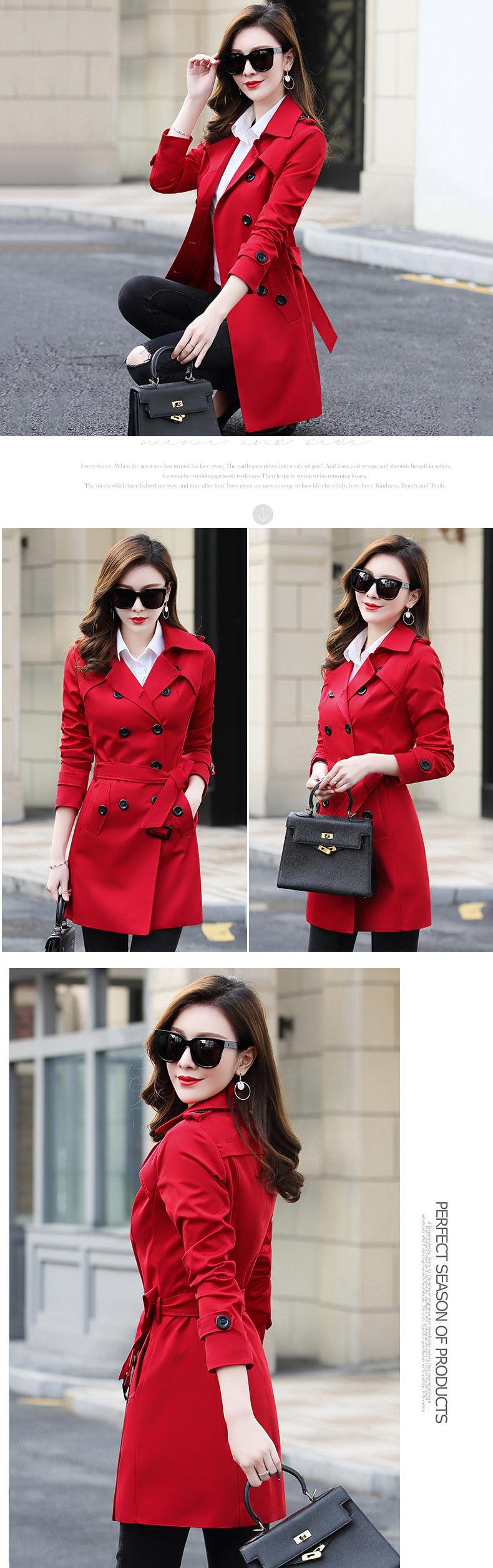 2019 Autumn New Double Breasted Trench Coat Female High Quality Business Outerwear Creationsg