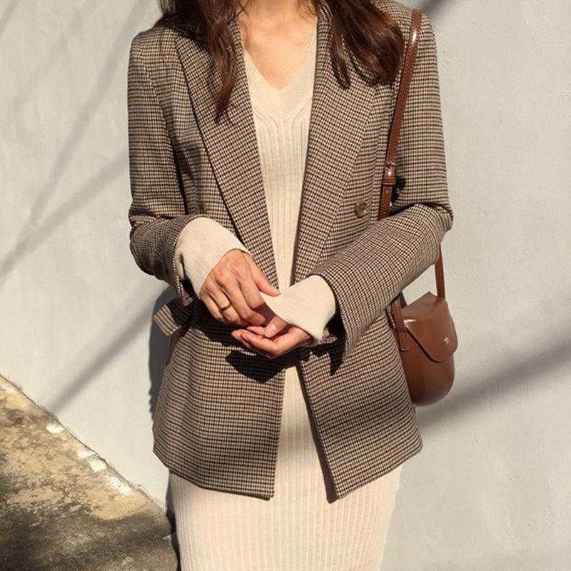 Vintage Double Breasted Plaid Blazer Long Sleeve Loose Houndstooth Office blazers Creationsg