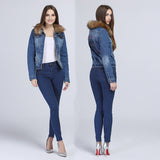 Fashion Plus Size 6XL Denim Jacket With Raccoon Fur Collar Creationsg