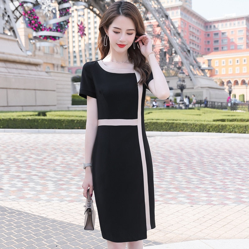 White Summer Fashion Women Work Ladies Office Suit Dress