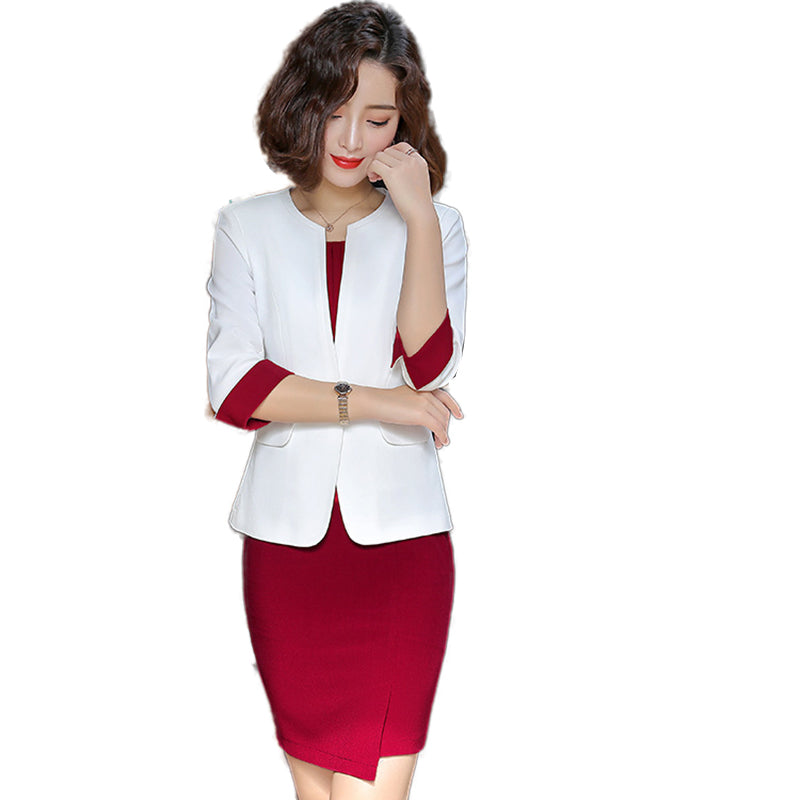 Wine Red Formal Dress Blazer Women Dresses with Jacket Creationsg