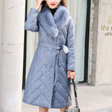 Winter Coat Women Clothes 2020 Fox Fur Collar Sheepskin Down Coat Creationsg