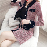 Winter Women Tweed Vintage Two Piece Skirt Suits Sets Creationsg