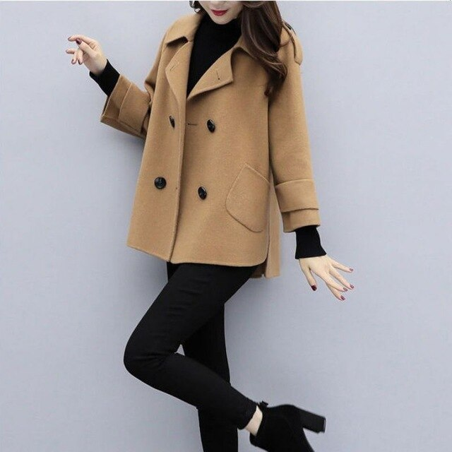 Autumn Winter Short Tops Loose Woolen Coat Female Fashion Clothing Creationsg