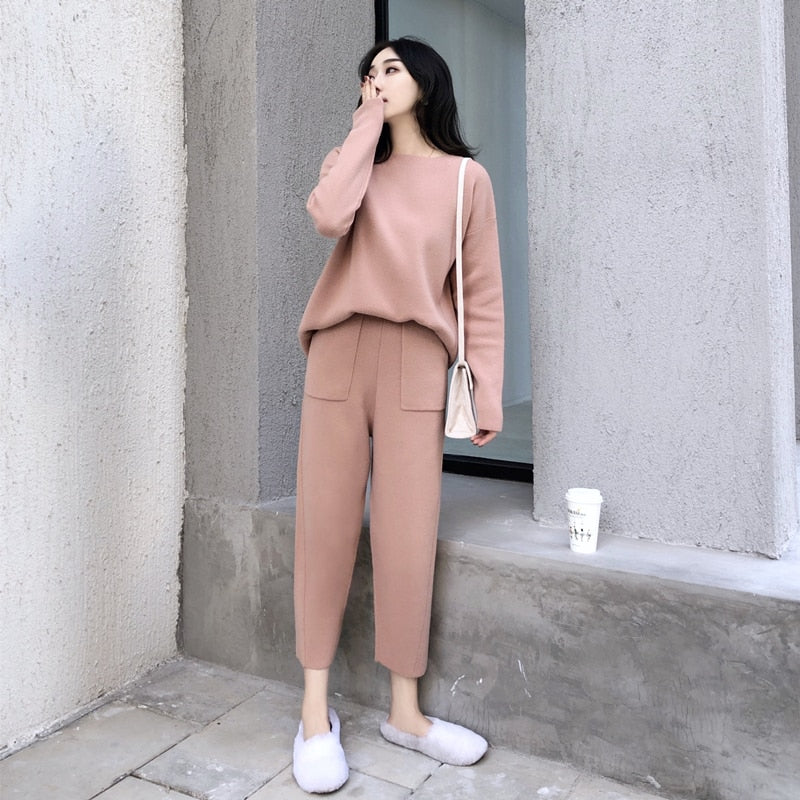 Women Cashmere Sweater Two Piece knitted Sets Slim Tracksuit Suit Female Creationsg