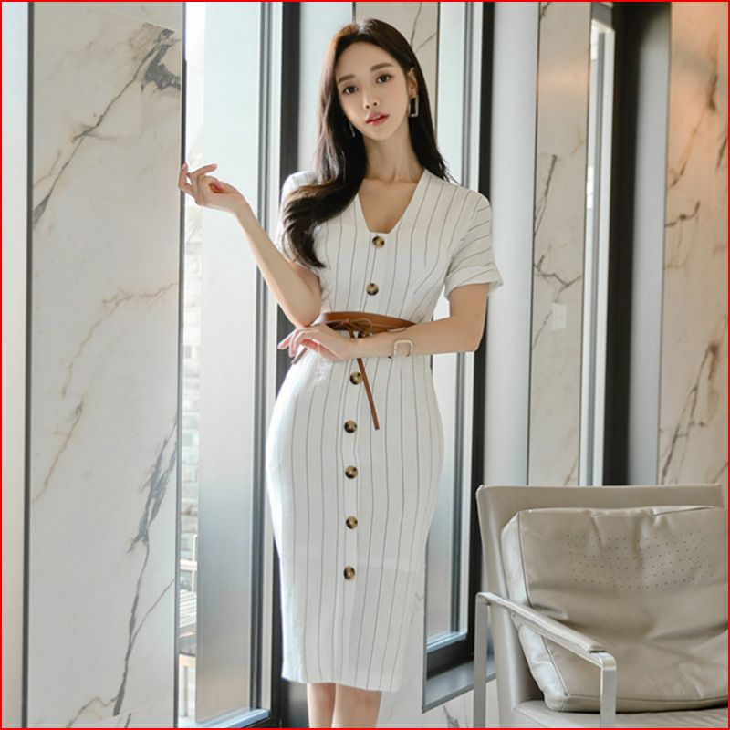 Women Fashion Stripe lace up Short Sleeve Bodycon Office Dress whit belt Creationsg