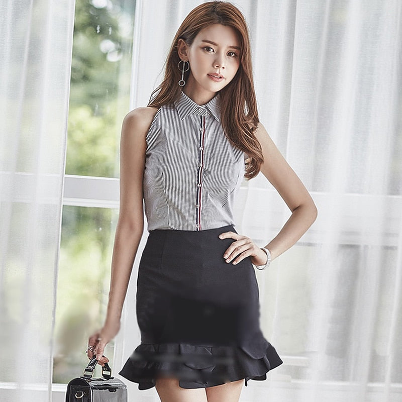 Women Sleeveless Striped blouse Black Skirt Two Piece Fishtail Office Set Dress Creationsg