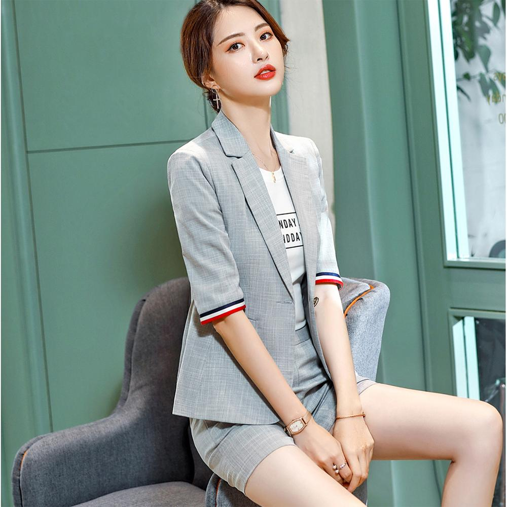 Half Sleeve Blazer And Short Pant Set Chic Suit - Creationsg