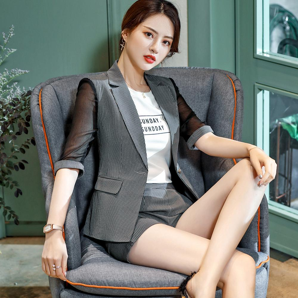 Half Sleeve Blazer And Short Pant Suit Set Female Chic Suit Office Lady 2 Pieces Sets Creationsg