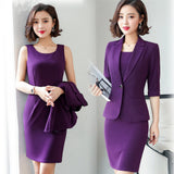 Women Suits Dress Suits 3/4 Sleeve Slim Blazer+Sleeveless Dress Creationsg