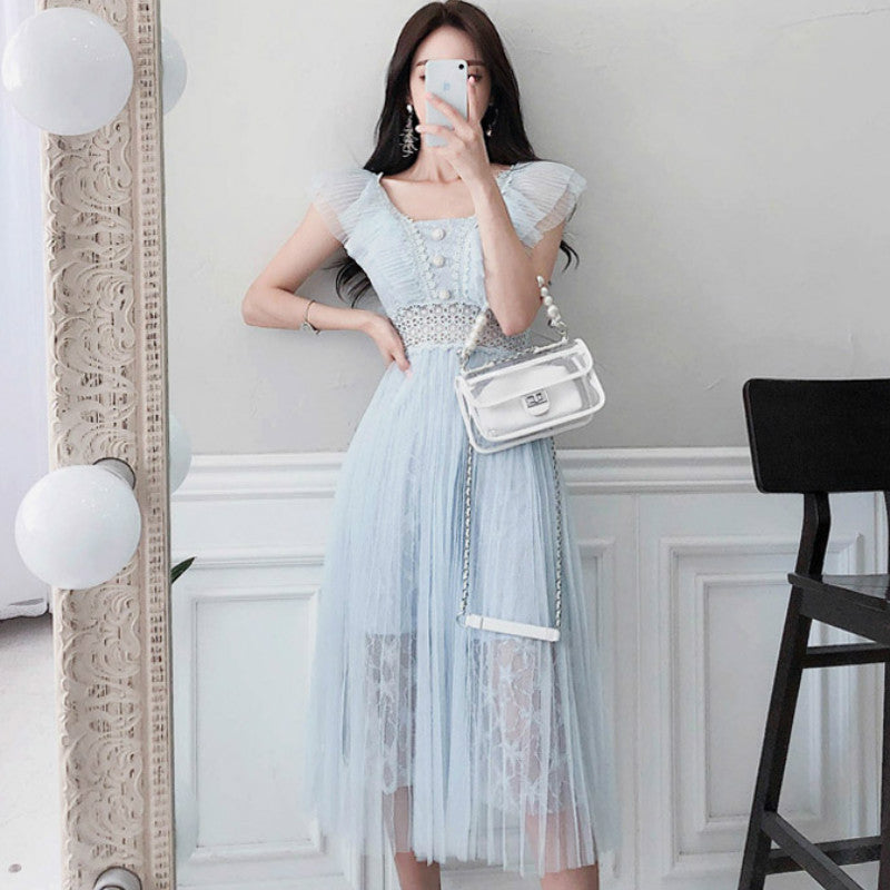 Women Summer Lace Patchwork Solid Mid-Calf Pleated Princess Dress Creationsg