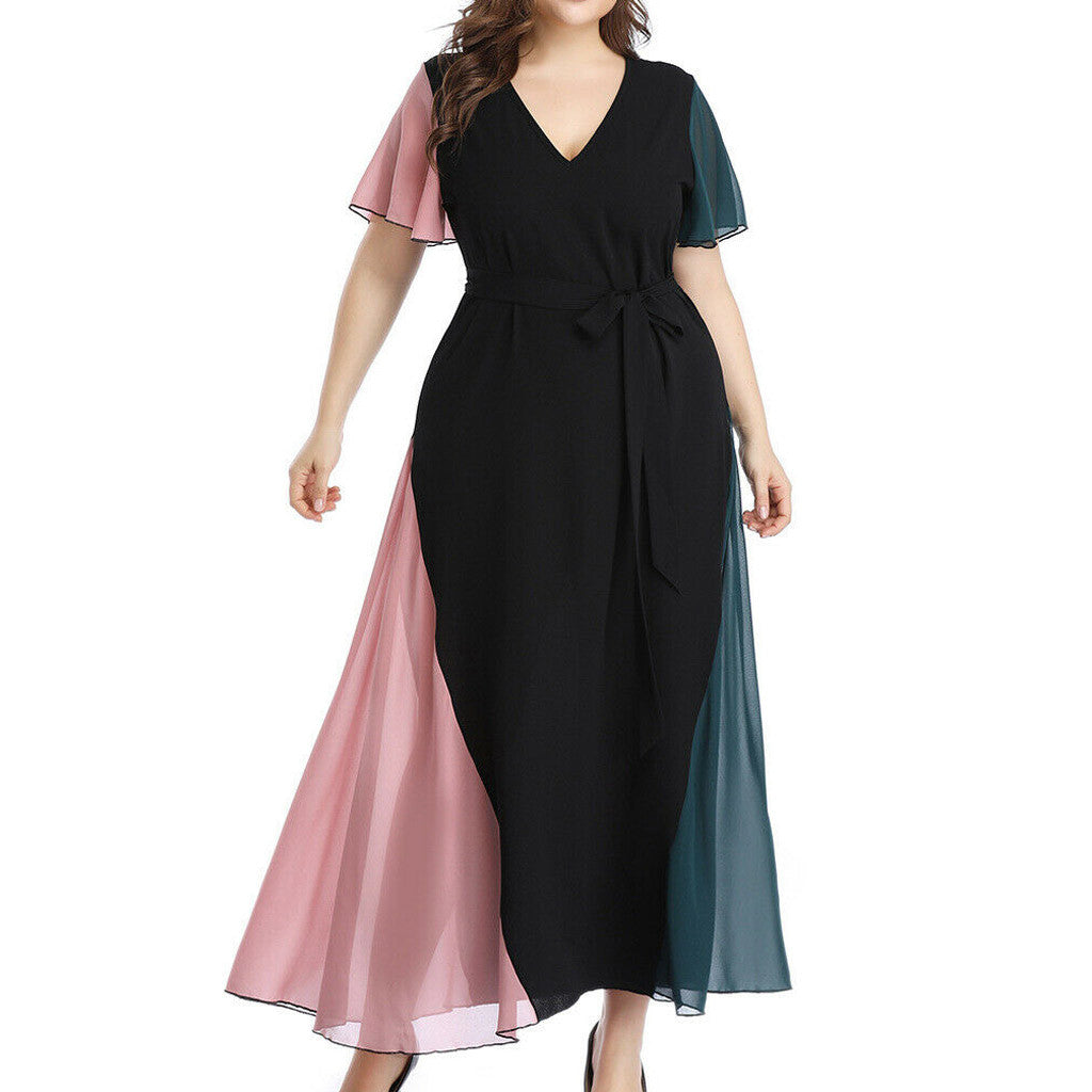 Women's Summer Fashion Large Size Chiffon V-neck Lace Summer Dresses Creationsg