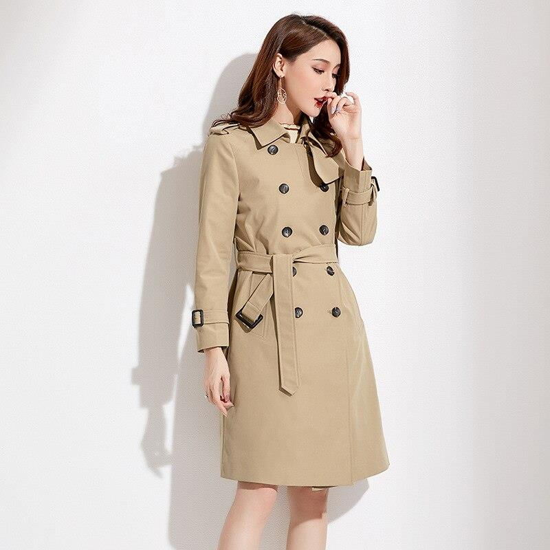 new women's clothing British temperament solid color long sleeve suit collar windbreaker TIKSUPER