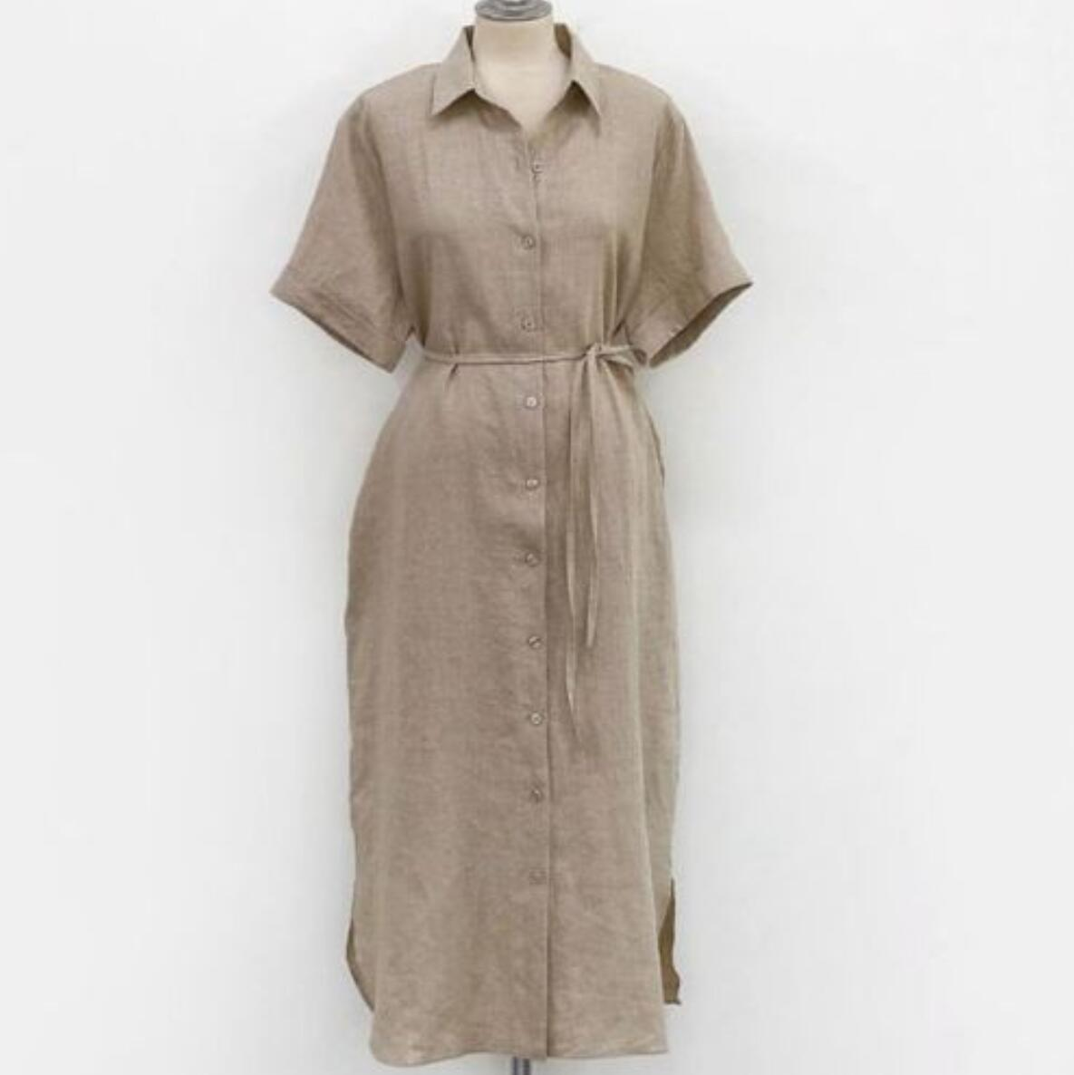 New European Style Spring Long Shirt Dress Women Cotton Linen TIKSUPER