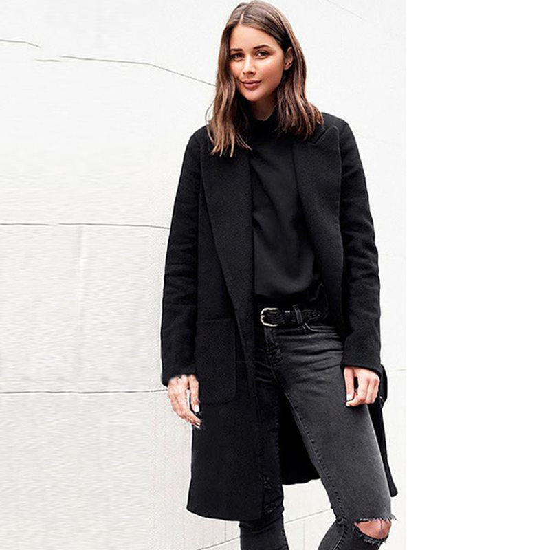 2019 Wool Trench Coat Feminino Office Ladies Winter coat Creationsg
