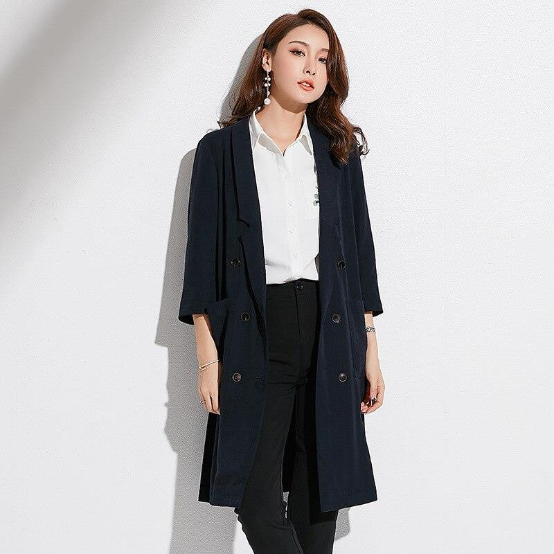 spring new women's mid long double breasted collar coat women blazer TIKSUPER