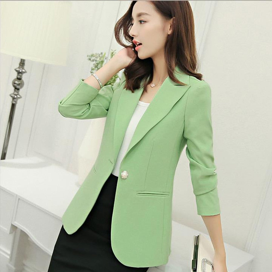 creationsg - women Blazers and jackets 2019 Candy 6 colors Single Button long sleeve casual suit coat