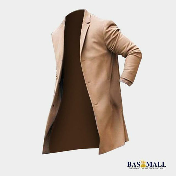 2018 Winter Fashion Men's Trench Long Jackets Coats Classic Jackets Solid Slim Fit Outwear Hombre INCERUN Overcoat Men Clothes, Men's Clothing, Bas Mall, Bas Mall, Khaki / S