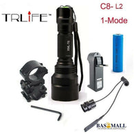 Hunting light C8 Tactical flashlight XM-L2 T6 led 1-mode torch+18650 battery+Charger+Pressure Switch Mount Rifle Gun Light Lamp, self defence, Bas Mall, Bas Mall, [variant_title]