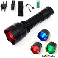Manta Ray C8s Hunting LED Flashlight CREE XP-E Green Blue Red Light Zoomable Lanterna 18650 Battery Gun Mount Remote Switch, self defence, Bas Mall, Bas Mall, [variant_title]