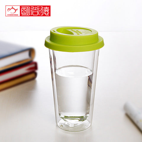 2x double wall coffee cup with lid - 300ml