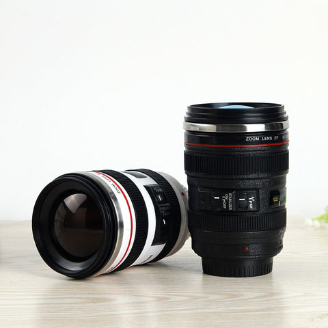 Canon camera lens coffee cup