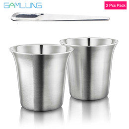 2x Stainless Steel Coffee Cups and spoon