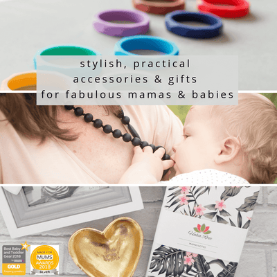 gifts for new mums, silicone teething necklaces and gift boxes for mums