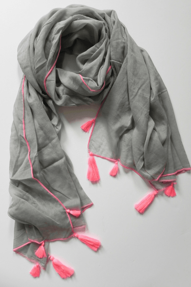 Alila grey cotton scarf / sarong with pink neon trim